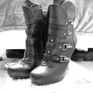 Black Buckle Platform Booties